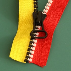Repairing a zipper close-up