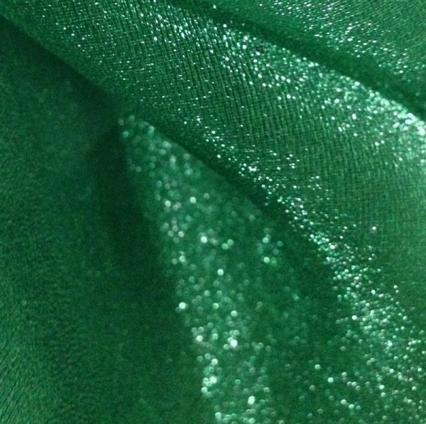 Dark Green Sparkle Organza