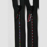 Rhinestone Zippers on black tape